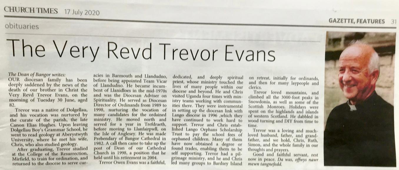 Trevor Evans Church Times obit